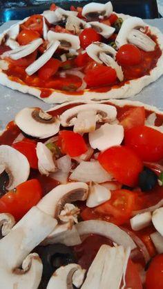 Burger and mushroom pizza