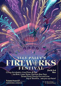 Illustrated poster design for the Alexandra Palace Fireworks Festival. Fireworks Festival, Fireworks Show, Diwali Festival, Graphic Design Posters, Graphic Design Illustration, Diwali Poster, Fireworks Design, Laser Show, Hindu Festivals