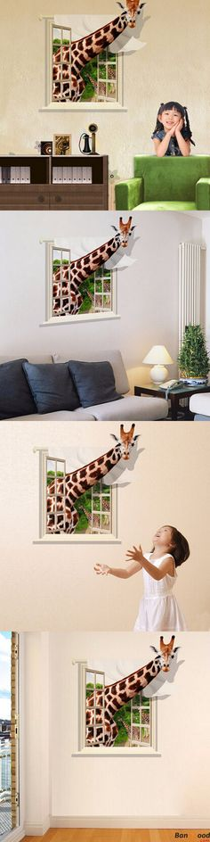 US$6.79+ Free Shipping.  3D Lovely Giraffe Wall Sticker. A beautiful art wall decal gives your room a refreshing look. Welcome to visit our website.