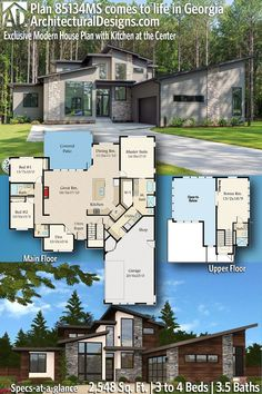 Contemporary House Plan 85134MS built by our client in Georgia! This modern house plan gives you 2500+ square feet of living space with 3 - 4 bedrooms and 3.5 baths. AD House Plan #85134MS #adhouseplans #architecturaldesigns #houseplans #homeplans #floorplans #homeplan #floorplan #houseplan Sims House Design, House Gate Design, New House Plans, Modern House Plans, Roof Detail, Beautiful Home Designs, Contemporary House Plans, Great Rooms, Future House