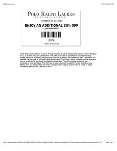 Polo Ralph Lauren Factory Stores. extra / additional 30% off October 18,  2013