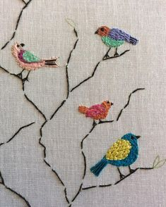 Grand Sewing Embroidery Designs At Home Ideas. Beauteous Finished Sewing Embroidery Designs At Home Ideas. Brazilian Embroidery Stitches, Bird Embroidery, Hardanger Embroidery, Hand Embroidery Stitches, Silk Ribbon Embroidery, Learn Embroidery, Hand Embroidery Designs, Embroidery Techniques, Cross Stitch Embroidery