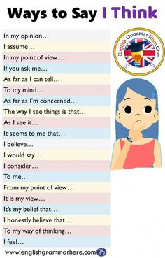 English Ways to say that I think - English grammar here - # think . - English Ways to say that I think – English grammar here – # think - Essay Writing Skills, English Writing Skills, Book Writing Tips, Writing Words, English Lessons, Spanish Lessons, French Lessons, Math Lessons, English Vocabulary Words