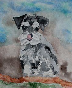 miniatureschnauzer puppy watercolor painting 8x10 by ssbaud, $37.00