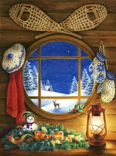 Winter Eve by Lin Howard ~ snow shoes ~ lantern ~ mittens ~ window ~ Christmas