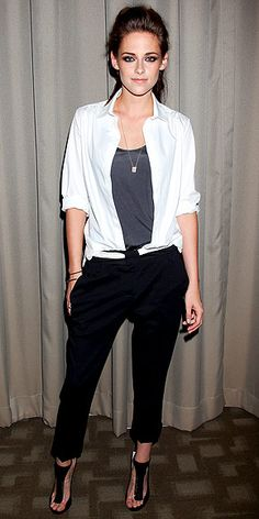 Smoky eye makeup, a messy updo and an edgy outfit (an open white blouse, gray tank, black A.L.C. pants and killer Jimmy Choo heels) make the actress look like quite the bad girl at a New York screening of On the Road.