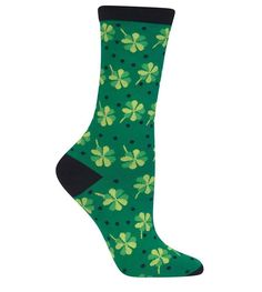 Hot Sox Womens Clover with Dots Socks, St Patricks Day Sock, Green, size 9-11  #HotSox #Casual