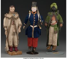 Composition dolls with cloth bodies depicting a soldier, a Moor and a man of means. From the estate of Richard Wright. Richard Wright, Old Dolls, Bodies, Gentleman, Art Decor, 19th Century, Composition, Clothes, Outfits