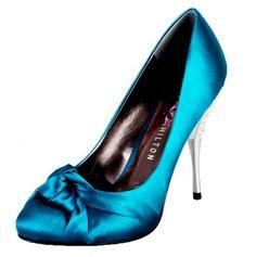 satin blue shoe w silver heel