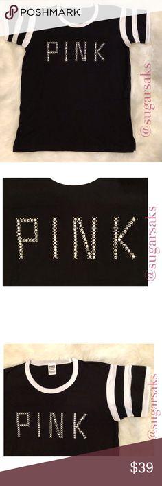 27fbf9f3cea7 Victoria's Secret PINK Rhinestone Gold Bling Top Very cute Victoria's  Secret PINK top DETAILS - Black