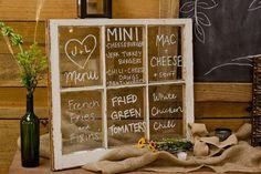 Glass framed menu-