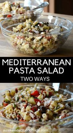 Delicious MEDITERRANEAN PASTA SALAD that can be served two ways; as a side dish at your next barbecue or with tuna for a healthy lunch or dinner. #pastasalad #summersalad #barbecue #healthylunch #healthydinner #saladrecipe