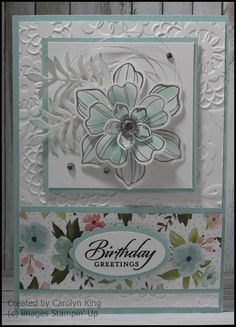 Carolyn King, Independent Stampin& Up! ® Demonstrator [thot it was Flower Shop, but would work, I think] Handmade Birthday Cards, Happy Birthday Cards, Birthday Greetings, Mothers Day Cards, Happy Mothers Day, Birthday Bouquet, Stamping Up Cards, Card Sketches, Flower Cards