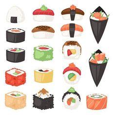 Japanese food vector sushi sashimi