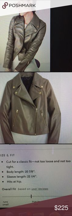Jcrew leather motorcycle jacket Classic Moro jacket. Buttery soft. I noted measurements in listing pic. This was just purchased this season. The chest when zip is a little too tight for me. I'm a 34dd for reference. This is a classic that will never go out of style. I just paid 550. It's still on line for 550.  No lower offers please J. Crew Jackets & Coats
