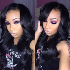 """I'm back! Did you miss me? ✨ This tutorial will be up tonight. I am rocking @runwayriches Brazilian straight extensions ; Use code """"AaliyahJay"""" on the website www.AaliyahJay.runwayriches.comat checkout for a discount on your bundles. My hair was installed by @hairbyessencia, She is located in the Brooklyn area! I'm also wearing @themiraclelash @miraclewatts00 mink lashes in the style """"Sultry"""" , xoxo"""