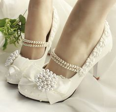 Handmade Pearl Ankel Chain Lace Flower Women Wedding Bridal Shoes ...