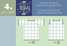 Positioning diagram to make a cochet motif top --- Todo para Crear ... : todo par crear con cuadrados en crochet moldes 1y 2 ----#7