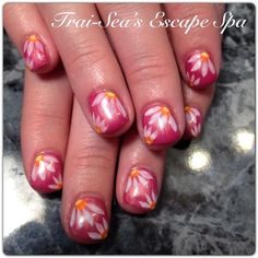 Pink Gel with Hand Painted Flowers by TraiSeasEscape - Nail Art Gallery nailartgallery.nailsmag.com by Nails Magazine www.nailsmag.com #nailart