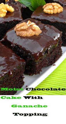 A moist chocolate cake covered with chocolate ganache. This cake has a wonderful deep chocolate flavor. Adding the brewed warm coffee enhances the flavor of the unsweetened cocoa powder, making the cake more chocolaty. Great for hosting a tea party or just get together with friends. If you are a chocolate lover, you will love this cake!