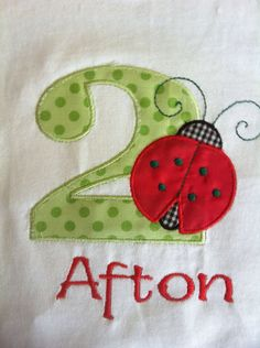 Girl's Lady Bug Birthday Applique Monogrammed Embroidered Shirt  or Onesie on Etsy, $18.00