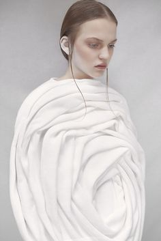 Sculptural Rose Cocoon Dress - textured surfaces dimensional fashion design in white | Fashion + Photography | Elodie Laurent |