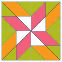 Block #1- Twisted 4-Point Star Pattern Download