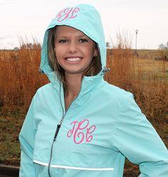Hey, I found this really awesome Etsy listing at http://www.etsy.com/listing/122950527/monogram-aqua-rain-jacket-personalized