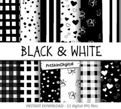 Black  White Digital Paper with hearts by PrtSkinDigital on Etsy, $4.40