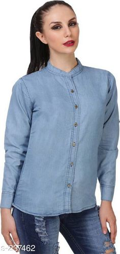 Shirts Trendy Designer Denim Shirts For Women  *Fabric* Denim   *Sleeves* Sleeves are Included   *Size* S - 36 in, M - 38 in, L - 40 in, XL - 42 in   *Length* Up To 28 in   *Type* Stitched   *Description* It Has 1 Piece Of Shirt   *Pattern * Solid  *Sizes Available* S, M, L, XL *   Catalog Rating: ★3.9 (602)  Catalog Name: Free Mask Trendyfrog Classy Denim Shirts Vol 12 CatalogID_24438 C79-SC1022 Code: 513-237462-