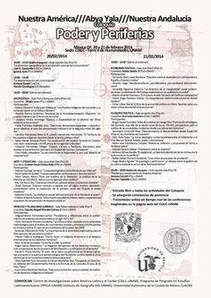 """Convocatoria al Coloquio """"PODER Y PERIFERIAS"""", 20 y 21 de febrero. Torre II Humanidades, UNAM"""