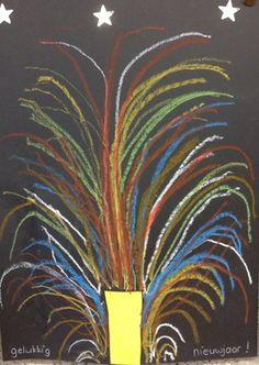 Vuurwerk tekenen deze hebben we ook daadwerkelijk gemaakt in de klas omdat kinderen bij vuurwerk allemaal verschillende kleuren bij elkaar zien ze mochten hun eigen vuurwerk tekenen. Fireworks Craft For Kids, New Year Fireworks, Winter Thema, New Year's Eve Crafts, Firework Painting, Fireworks Pictures, New Year Art, New Year Illustration, New Years Activities