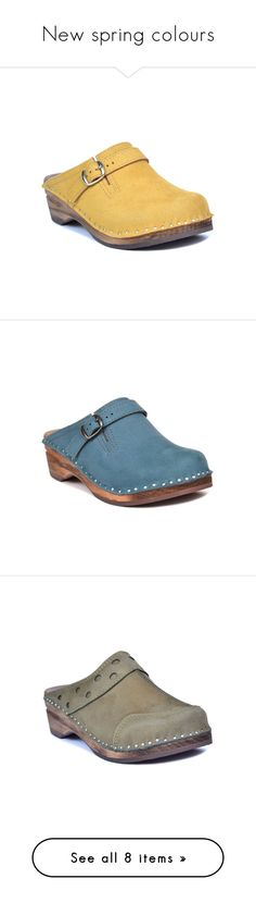 """""""New spring colours"""" by troentorp ❤ liked on Polyvore featuring shoes, clogs, clogs footwear, suede leather shoes, suede clog shoes, troentorp, troentorp shoes, blue color shoes, suede clogs and olive green shoes #ClogsShoesFashion"""