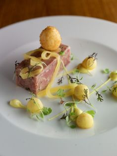 Pressed Ham Hock Terrine, crispy quails egg, pineapple jelly, English mustard mayonnaise Ham Hock Terrine, Rillettes Recipe, Posh Nosh, Gourmet Recipes, Cooking Recipes, Mayonnaise, Good Food, Yummy Food, Cafe Food