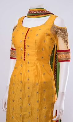 Salwar kameez ONLINE usa Silk brocade top with golden embroidery with matching bottom and dupattaProduct InformationColor : yellow,redFabric : silk,georgetteOccasion : party Fully stitched full flare plazzo dress - top, bottom and dupatta Note: Color Salwar Neck Designs, Churidar Designs, Kurta Neck Design, Dress Neck Designs, Kurta Designs Women, Designs For Dresses, Blouse Designs, Chudidhar Neck Designs, Neck Designs For Suits