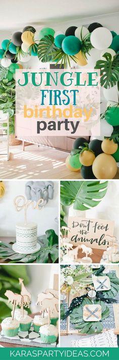 Jungle First Birthday Party via Kara's Party Ideas - KarasPartyIdeas.com