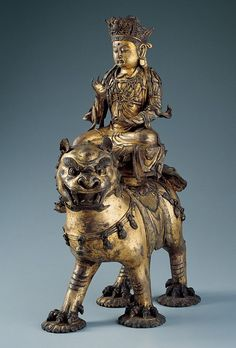 Chinese Manjushri on a Lion c. 1150–1300 China, Southern Song or Jin dynasty (1127–1279/1115–1234). Mañjuśrī is often depicted as riding on a blue lion, or sitting on the skin of a lion. This represents the use of wisdom to tame the mind, which is compared to riding or subduing a ferocious lion.