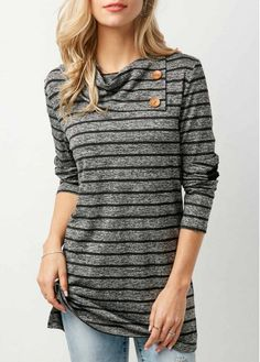 Striped Elbow Patchwork Button Embellished T Shirt