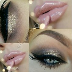 Flawless glam glitter look by @sarahc_29 using Motives eyeshadows in Chocolight and Cappuccino!