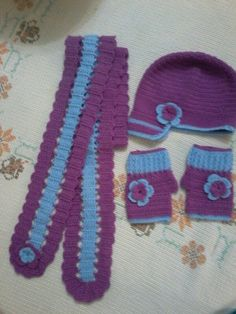 Crochet scarf - cap - gloves for girls