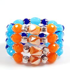Cuff bracelet beaded - in orange and bright and cobalt blue - Murano beads - trendy style jewelry - handmade Catena - SALE from eur 37,95