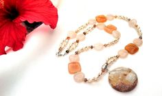 22 inch pearl and natural stone necklace by InsomniacTreasures, $48.00