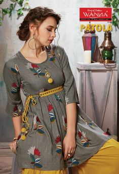 Wanna-Presents-Patola-Rayon-Kurti-With-Dhoti-Catalogue-Manufacturer-Wholesaler-5 Stylish Dresses For Girls, Stylish Dress Designs, Frocks For Girls, Casual Dresses, Stylish Dress Book, Simple Pakistani Dresses, Pakistani Fashion Casual, Pakistani Dress Design, Indian Fashion