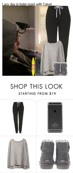 """""""Lazy day in hotel room with Calum"""" by irish26-1 ❤ liked on Polyvore featuring Topshop, UGG Australia and Maybelline"""