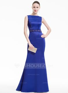 Trumpet/Mermaid Scoop Neck Floor-Length Satin Evening Dress With Beading Sequins (017074928)