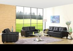 Black Leather Tufted Sofa Couch Loveseat Chair Tufted Living Room Set