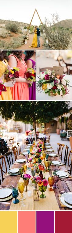 YELLOW + CORAL + PURPLE + CRANBERRY = SUNSET WEDDING COLORS Bold jewel tones make for a fun and fiery sunset palette. These saturated colors have more depth than their primary counterparts, creating a happy, warm, and inviting atmosphere. For a traditional or modern look, use jewel tones sparingly and with clean lines, or generously layer them together with more organic shapes for a brilliant bohemian palette. Desert or city, these dynamic colors set the tone for a cheerful party.