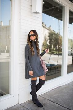 Grey sweater dress and grey suede over the knee boots