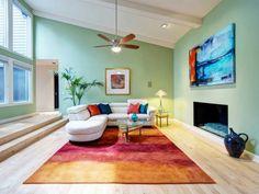 Perfekt Malerei Teppich Kontrastfarben Gelb Rot Orange Ecksofa Design Dachschräge