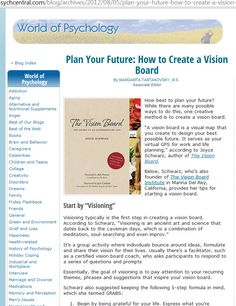 Latest article on THE VISION BOARD book from Psychcentral.com